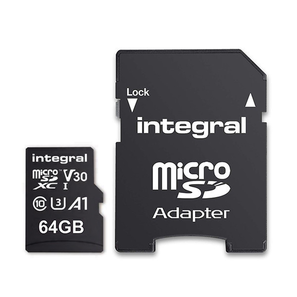KARTA PAMIĘCI INTEGRAL 64GB + ADAPTER CLASS 10 UHS-I micro SDXC Cards UHS-1 100 MB/s transfer INMSDX64G-100v10