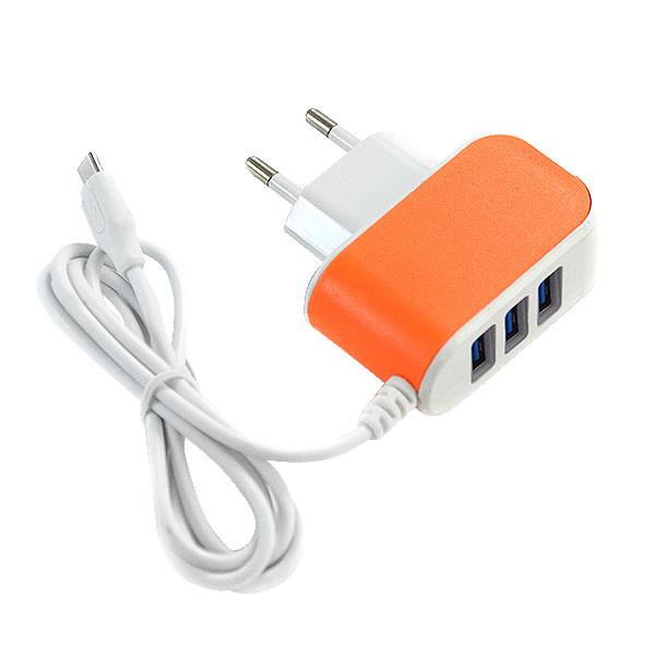 ŁADOWARKA SIECIOWA USB MICRO 3.1A BIAŁA POMARAŃCZOWA FAST CHARGING 3100mAh 3XUSB ECONOMY