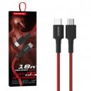 KABEL USB TYP-C 3.6A SOMOSTEL CZERWONY 18W  1M POWER DELIVERY SMS-BW05 PD TYPC-TYPC red
