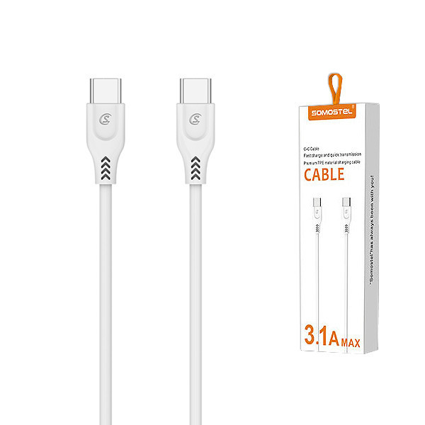 KABEL USB TYP-C TYP-C 3.1A SOMOSTEL BIAŁY 3100mAh QUICK CHARGER QC 3.0 2M POWERLINE SMS-BT05 ECL WHITE PD