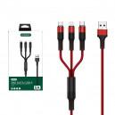 KABEL USB 3W1 5A NAFUMI CZERWONY 5000mAh QUICK CHARGER QC 3.0 1,2M ELASTIC NFM-069