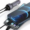 ŁADOWARKA SAMOCHODOWA 5A CZARNA MIERNIK + KABEL IPHONE SOMOSTEL 30W 2XUSB DUAL SMS-A89 QUICK CHARGE QC 3.0 METAL