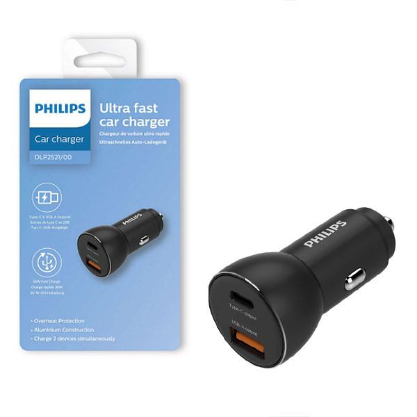 ŁADOWARKA SAMOCHODOWA CZARNA PHILIPS TYP-C USB USB-A 3100mAh USB DUAL 36W QUICK CHARGE Phil-DLP2521/00