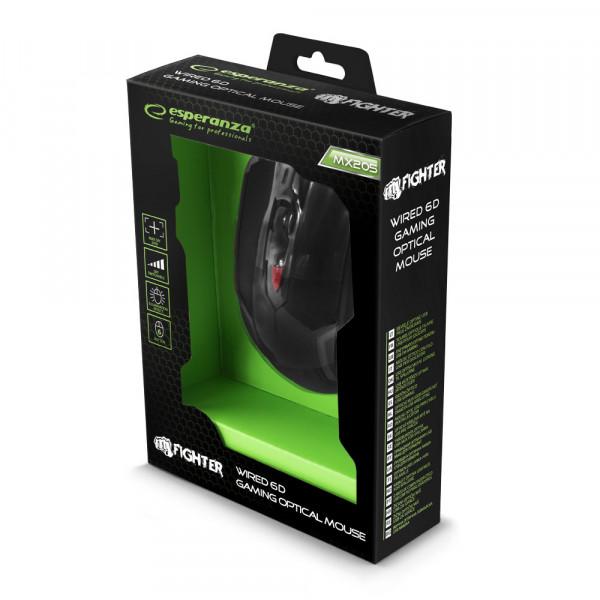 ESPERANZA MYSZ PRZEWODOWA GAMING LED 6D OPT. USB FIGHTER CZERWONA
