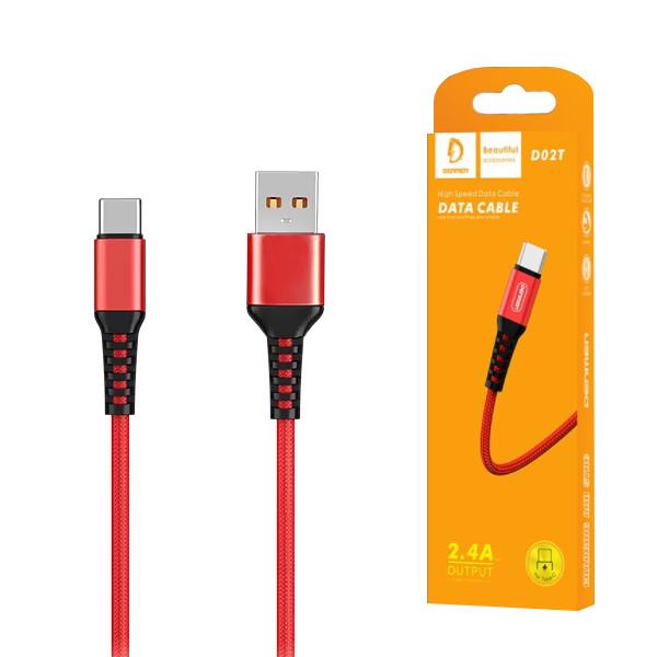 KABEL USB TYP-C DENMEN CZERWONY 1M D02T