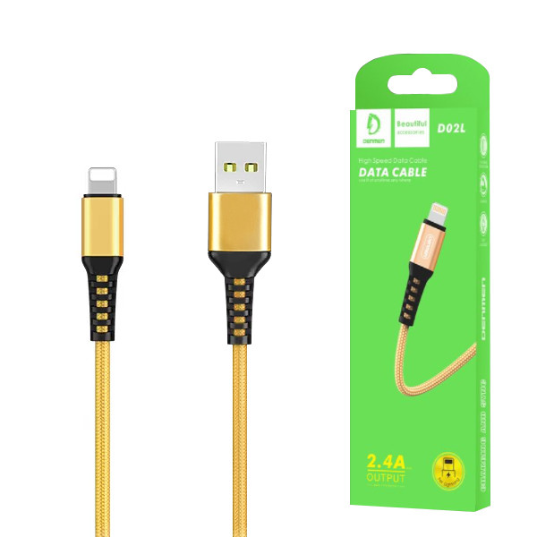 KABEL USB IPHONE DENMEN ZŁOTY 1M D02L