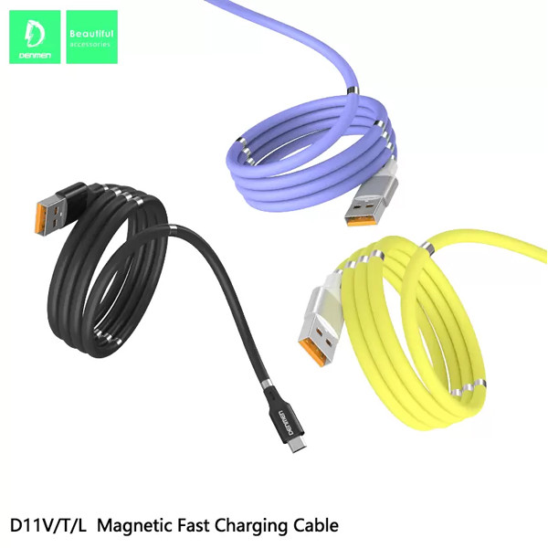 KABEL USB TYP-C DENMEN FIOLETOWY D11T MAGNETYCZNY