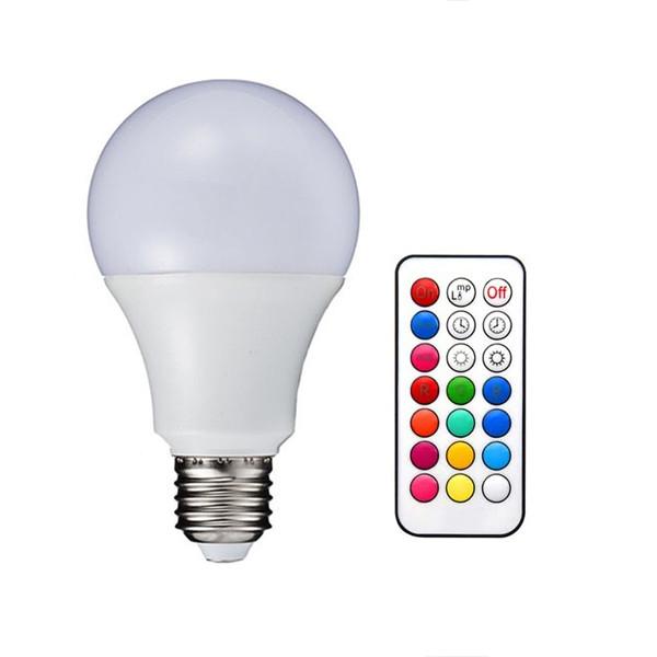 ŻARÓWKA LED RGB KOLOROWA 16 KOLORÓW E27 5W + PILOT