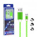 KABEL USB 3w1 MAGNETYCZNY 360 LED MIĘTA IPHONE MICRO TYP-C  6 6S IPAD AIR  2 / 5 5S 5G