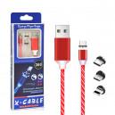 KABEL USB 3w1 MAGNETYCZNY 360 LED CZERWONE IPHONE MICRO TYP-C  6 6S IPAD AIR  2 / 5 5S 5G