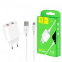 ŁADOWARKA SIECIOWA 2.4A + KABEL USB TY-C BIAŁA DENMEN 2XUSB 2400mAh DC05 12W