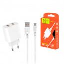 ŁADOWARKA SIECIOWA 2.4A + KABEL USB MICRO BIAŁA DENMEN 2XUSB 2400mAh DC05 12W