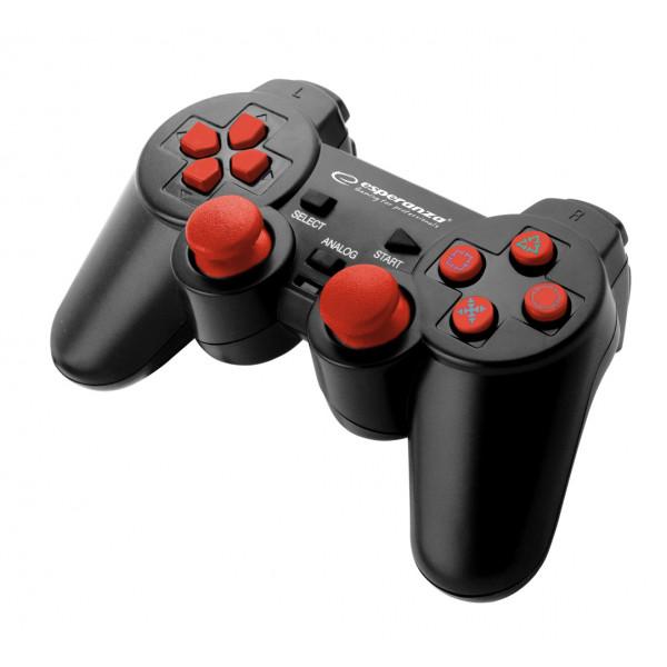 PAD PRZEWODOWY PS3 PS2 PC GAMEPAD CORSAIR ESPERANZA CZARNO-CZERWONY USB ESPE