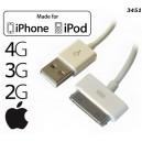 IPHONE 4 KABEL USB / 2G 3G 3GS 4G 4S IPOD NANO CALSSIC SHUFFLE BIAŁY BULK